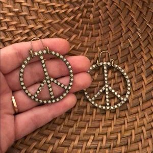 Lucky Brand peace sign dangling earrings